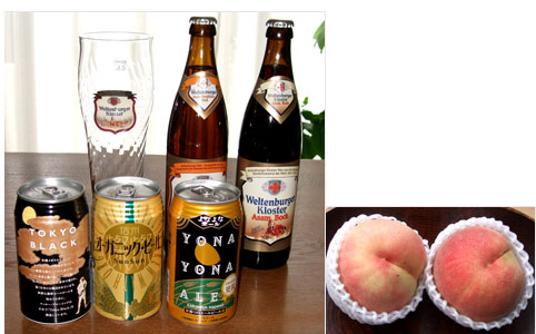ビールと桃